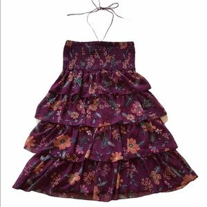 American Eagle Purple Floral Tiered Ruffle Dress